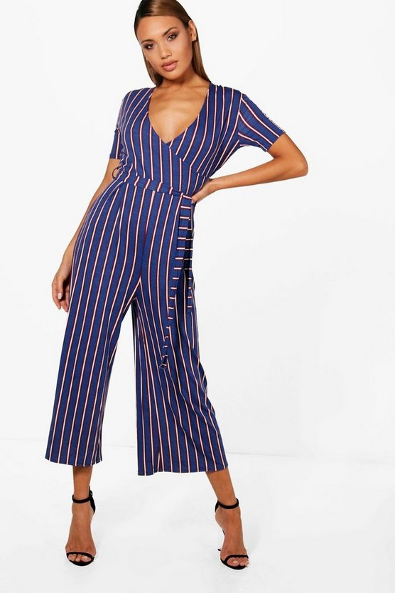 Strip Wrap Front Culotte Jumpsuit