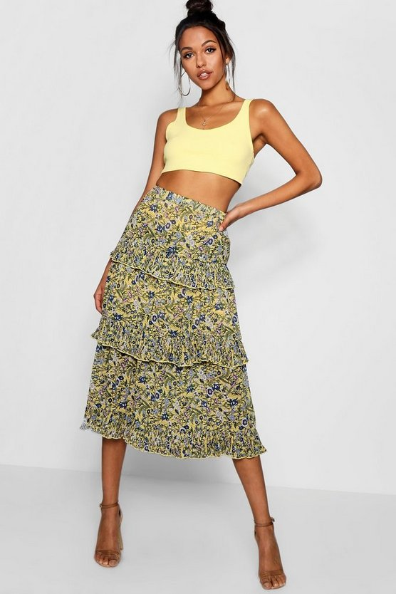 Woven Floral Tiered Chiffon Maxi Skirt