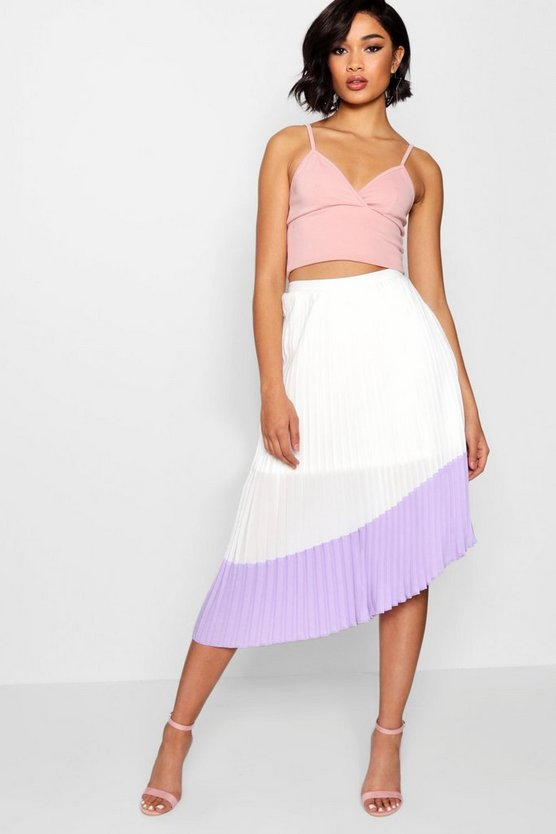 Woven Pleated Contrast Hem Midi Skater Skirt