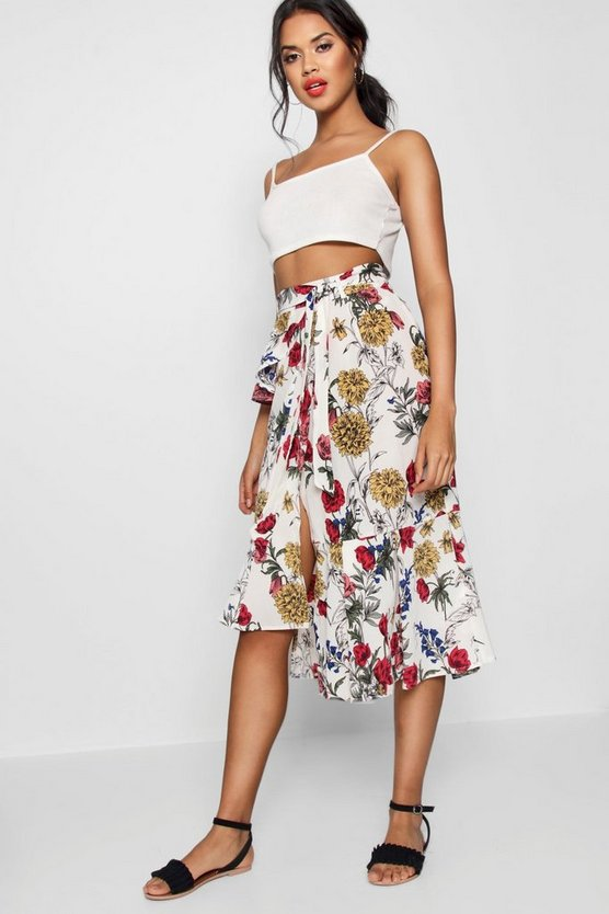 Woven Floral Ruffle Belted Midi SKirt