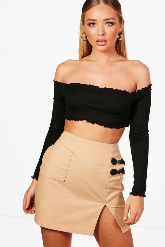 Alice Woven Buckle Side Pocket Mini Skirt