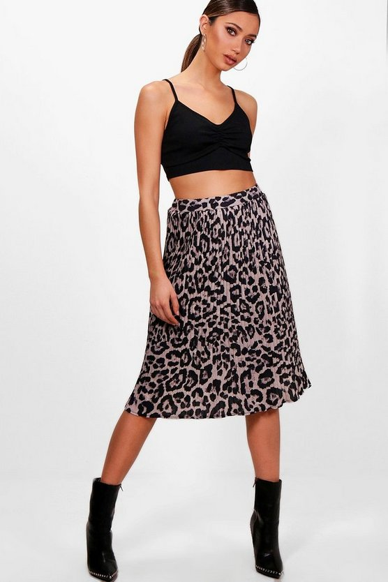 Woven Leopard Print Pleated Skater Skirt