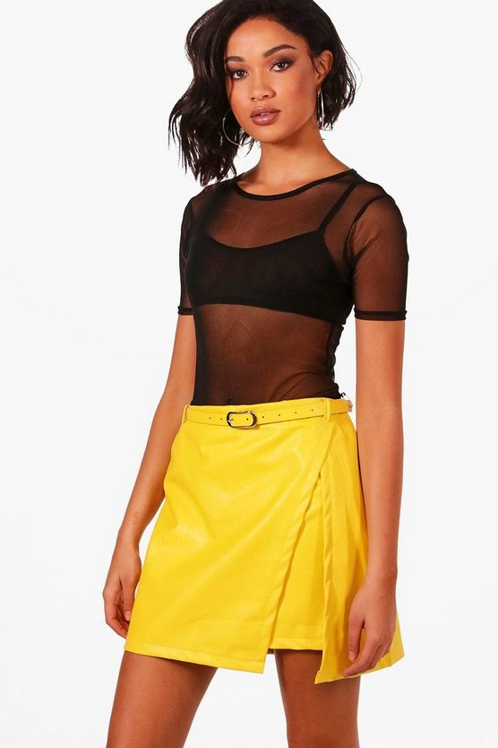 PU Under Wrap Mini Skirt