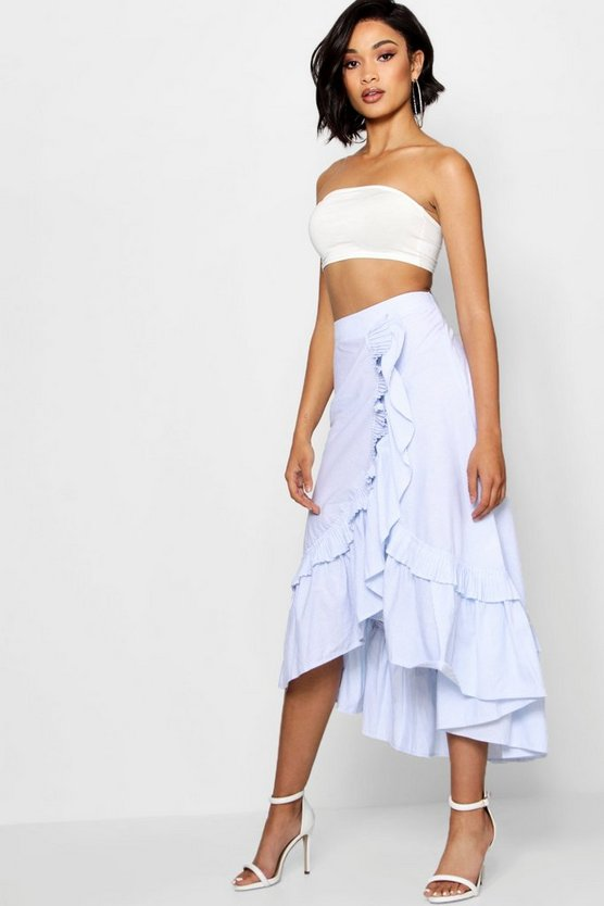 Molly Woven Tiered Frill Stripe Maxi Skirt