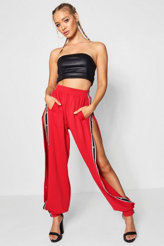 Leah Sports Tape Popper Side Trousers