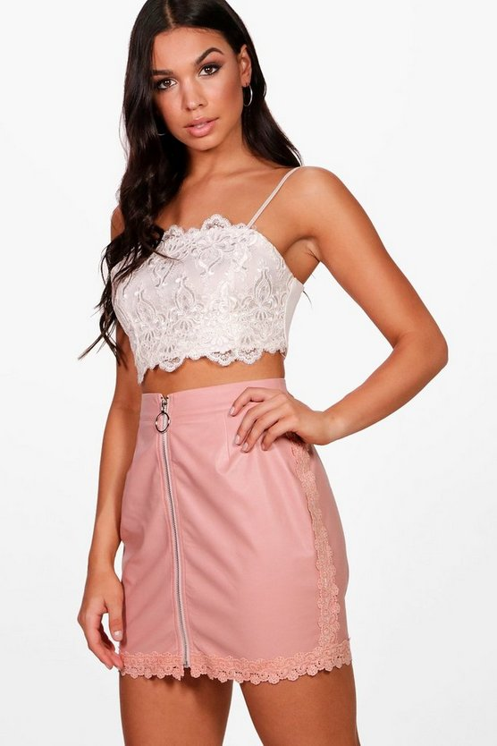 Georgia PU Crochet Trim Woven Mini Skirt