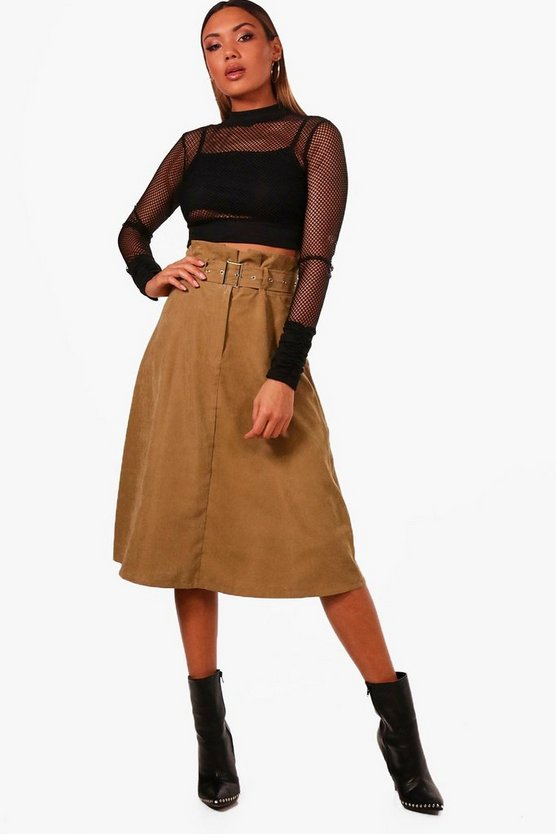 Ivy Woven Suedette Belted Paperbag Midi Skirt