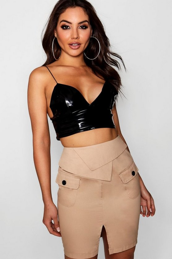 Woven Safari Pocket Mini Skirt