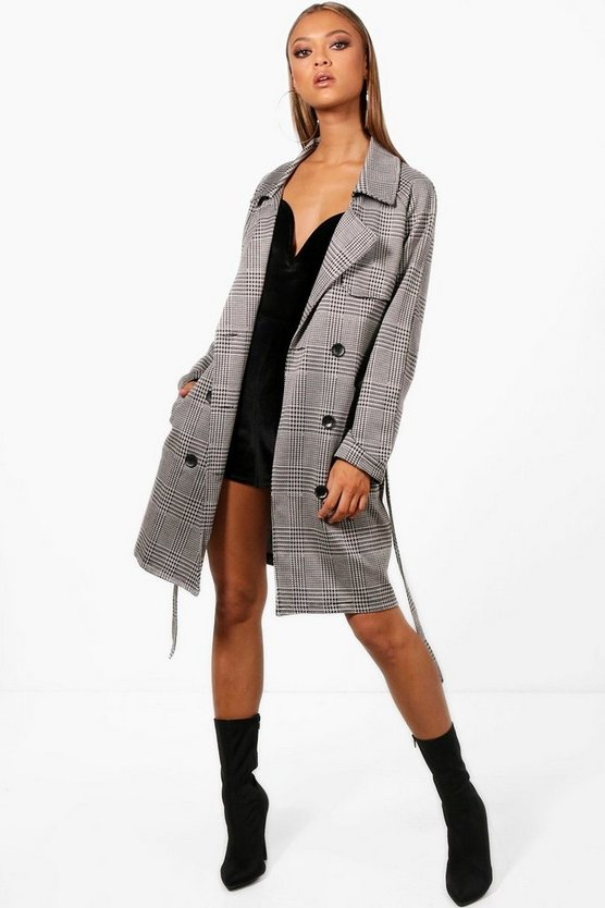 Abigail Check Button Detail Trench Coat