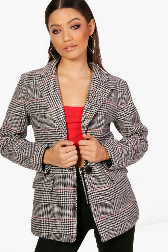 Nicole Check Wool Look Blazer