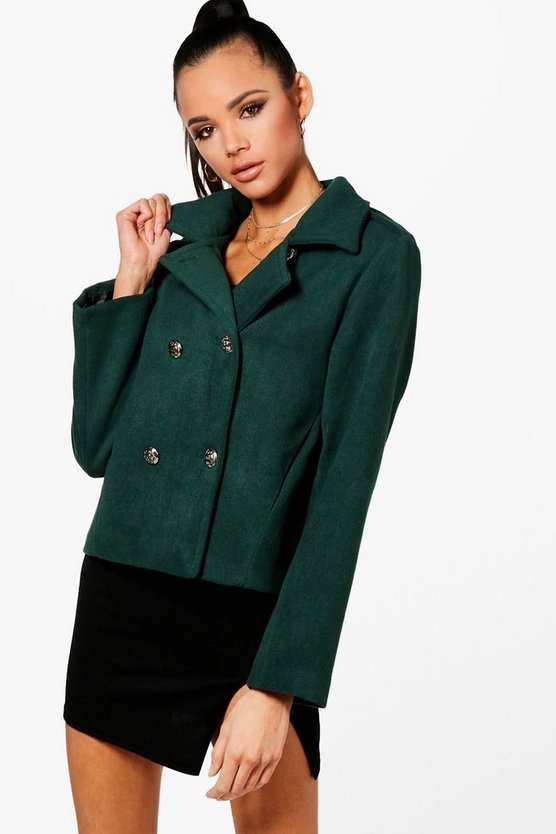 Robyn Short Military Wool Look Coat