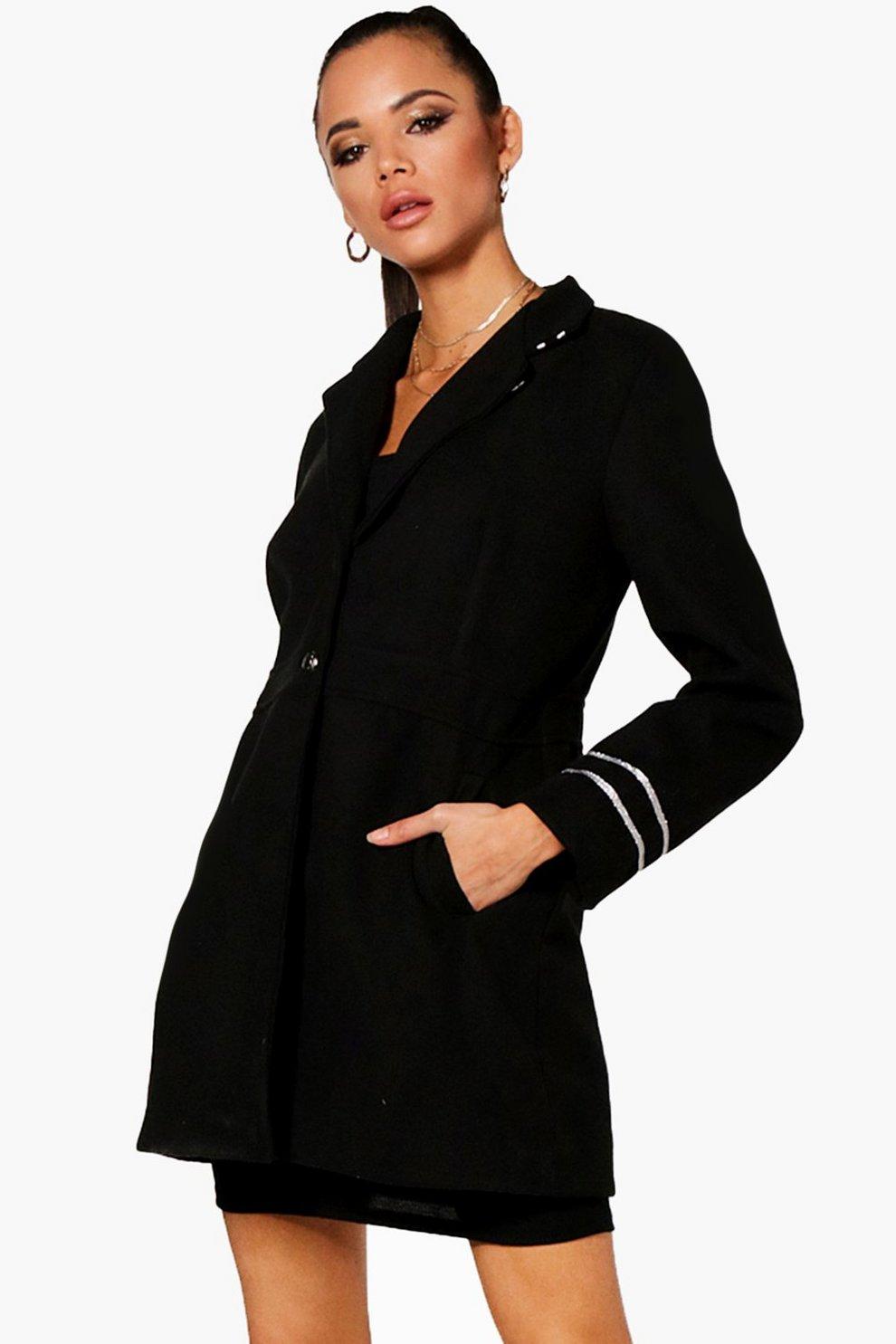 Black wool look coat