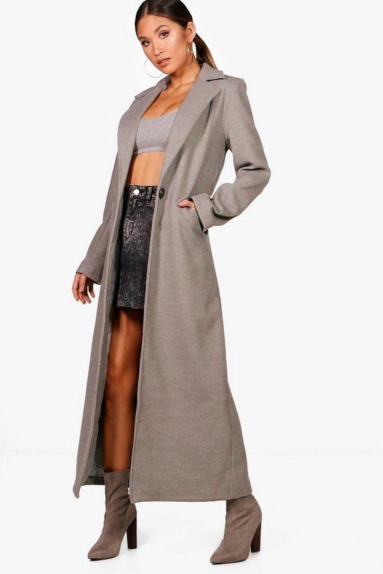 Longline Wool Look Coat