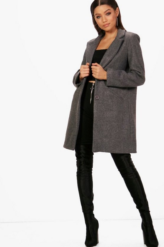 Laura Button Wool Look Coat