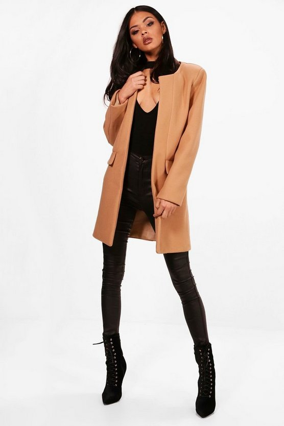 Collarless Wool Look Coat