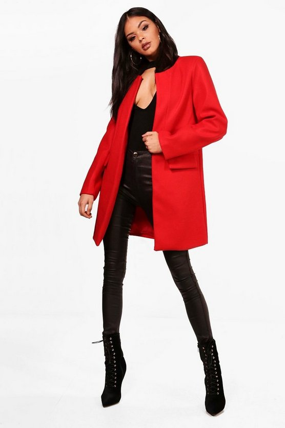 Louise Collarless Wool Look Coat