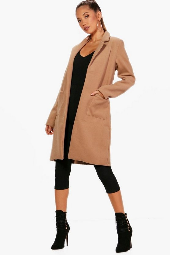 Cassie Collared Wool Look Coat With Pockets