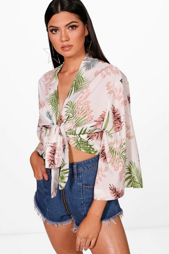 Woven Printed Tie Front Blouse
