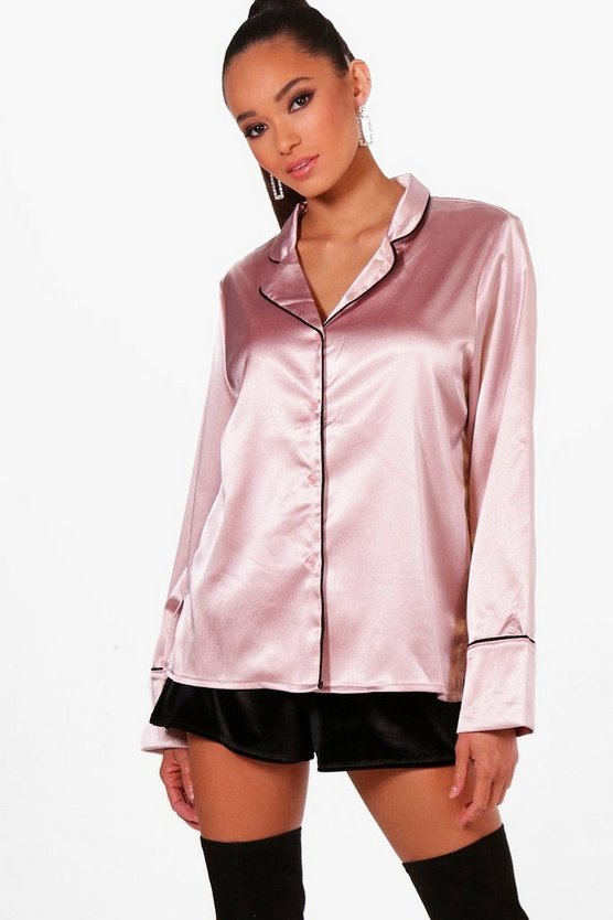Jodie Satin Piped Pyjama Shirt