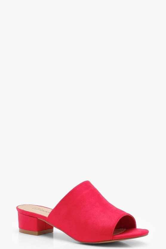 Wide Fit Peeptoe Mule Slider Flats