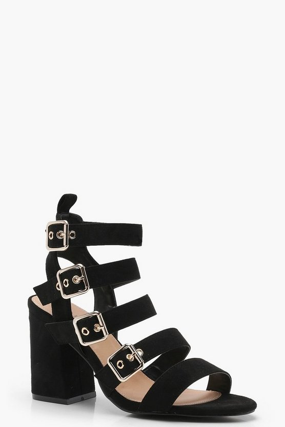 Wide Fit Multi Buckle Caged Heels