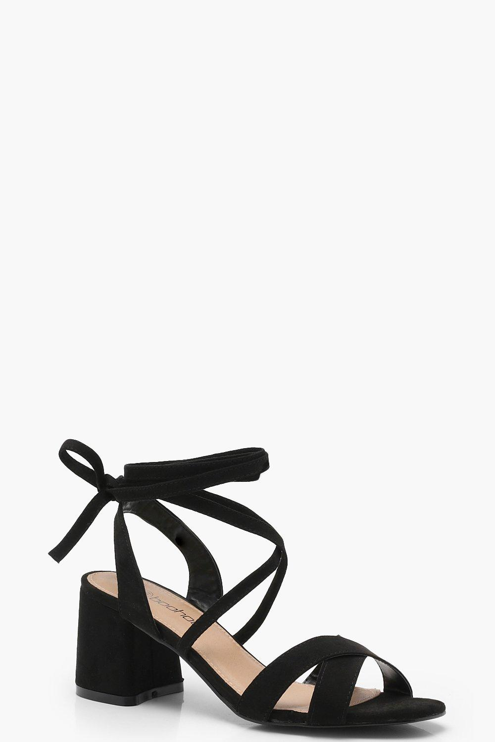 boohoo Womens Extra Wide Fit Cross Strap Ankle Wrap Heels - Black - 5, Black