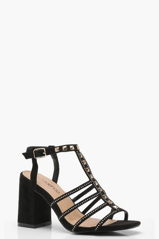 Wide Fit Pyramid Stud Cage Gladiator Heels