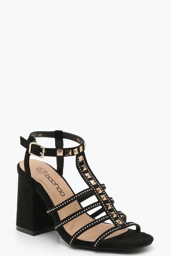Hollie Pyramid Stud Cage Gladiator Block Heels