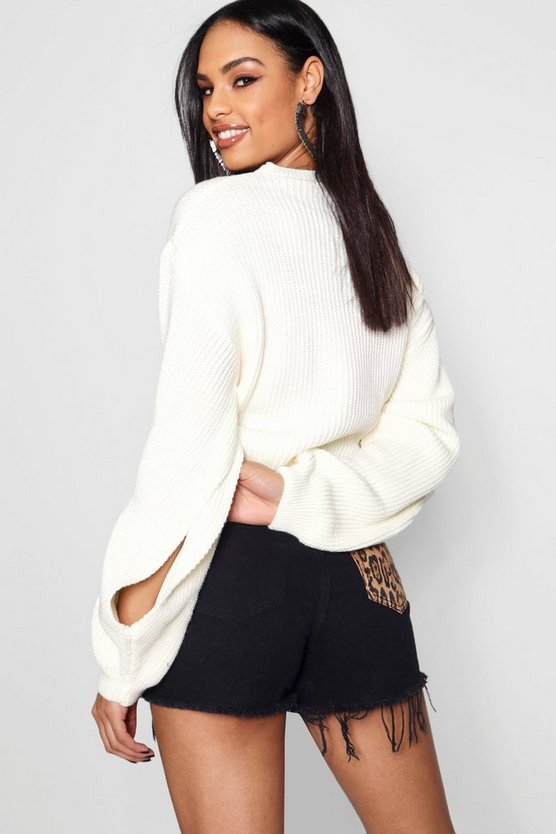 Knitted Balloon Split Sleeve Crop Jumper