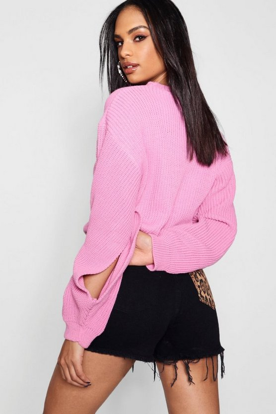 Amelia Knitted Balloon Split Sleeve Crop Jumper