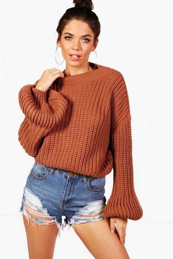 Chunky Balloon Sleeve Knitted Crop Jumper