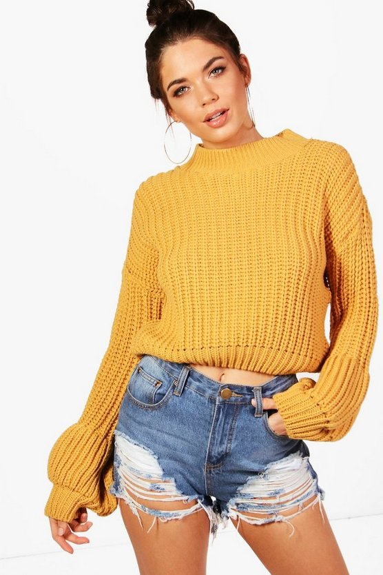 Natasha Chunky Balloon Sleeve Knitted Crop Jumper