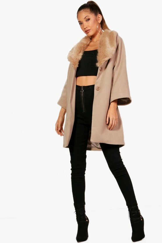 Jessica Faux Fur Collar Wool Look Coat