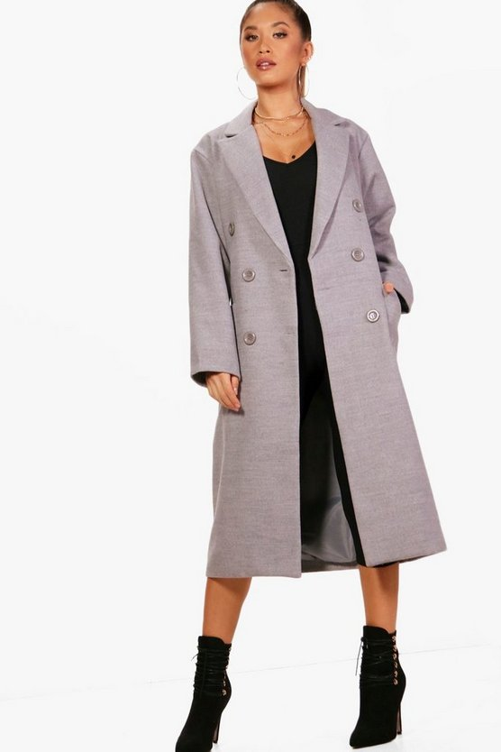 Heidi Long Line Double Breasted Wool Look Coat