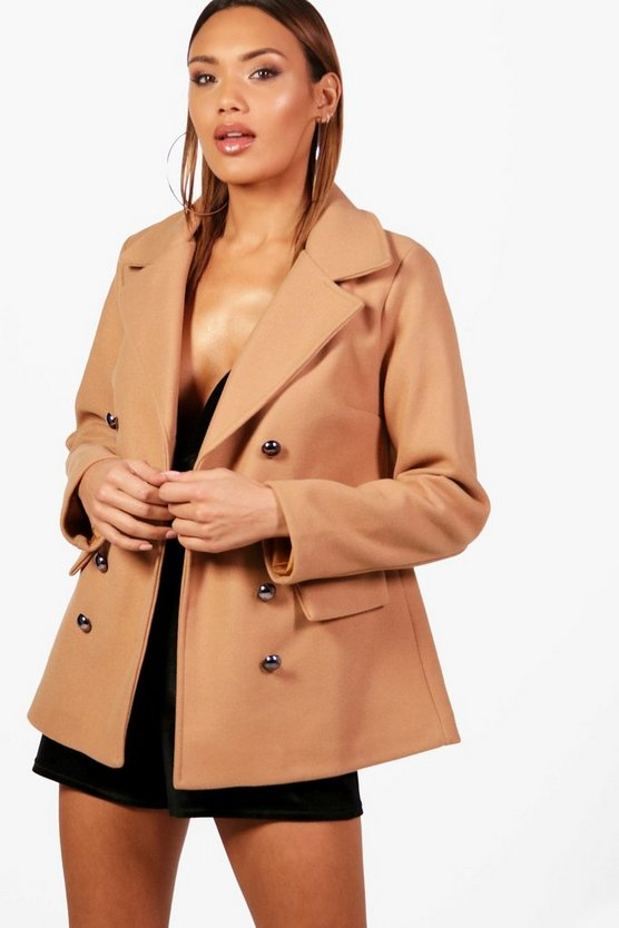 Lola Double Breasted Wool Look Coat