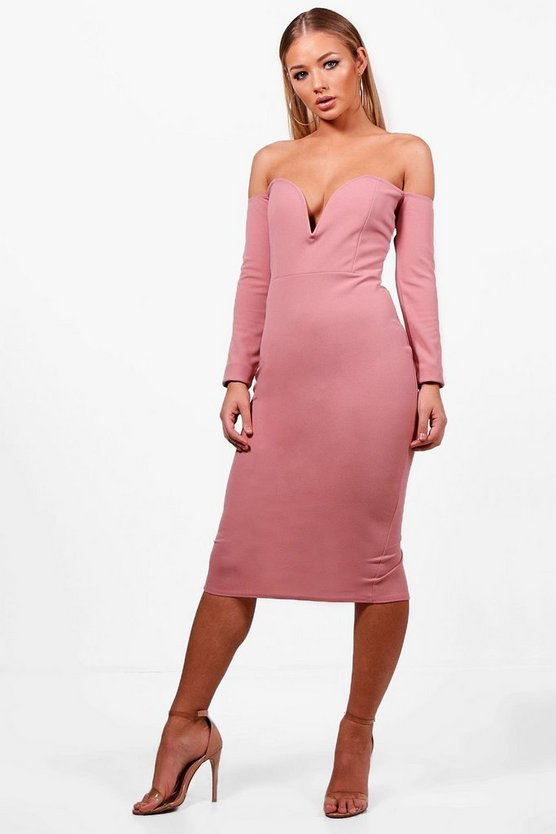 Lara Sweetheart Off the Shoulder Midi Dress