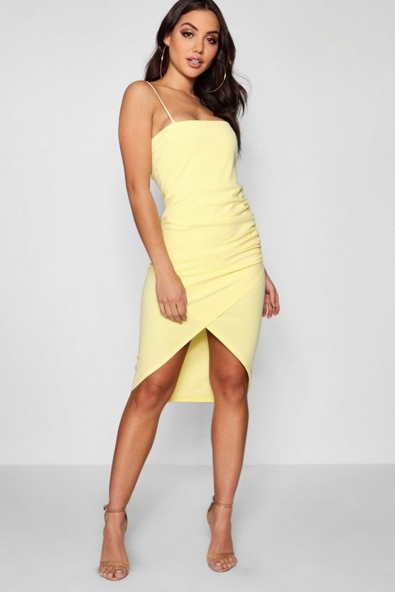 Ellie Square Neck Wrap Skirt Midi Dress