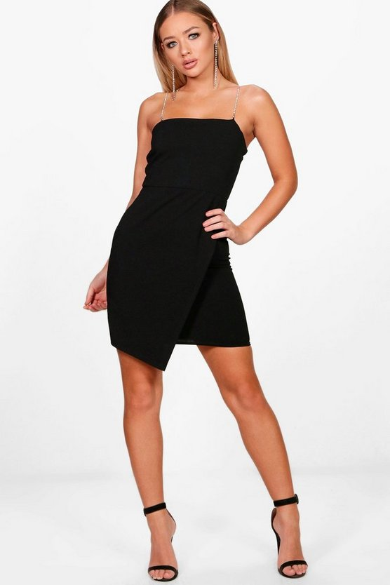 Liz Diamante Straps Wrap Detail Bodycon Dress