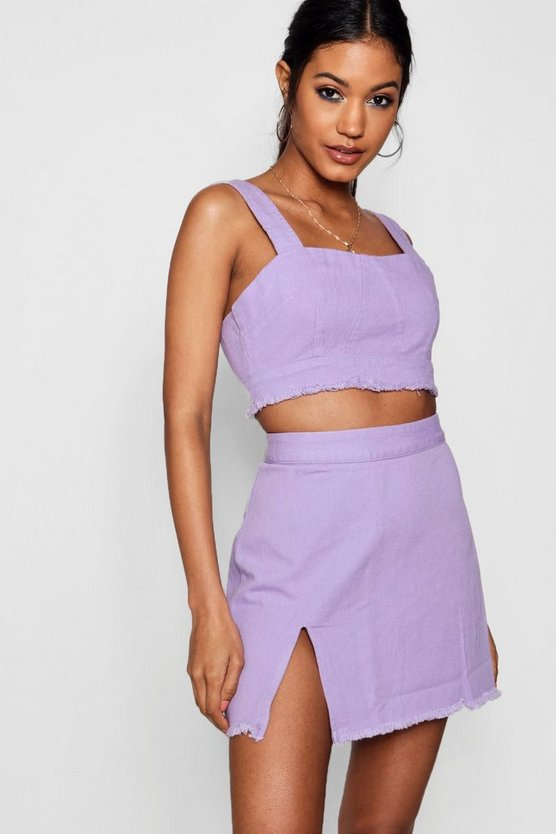 Eva Side Split Denim Mini Skirt by Boohoo