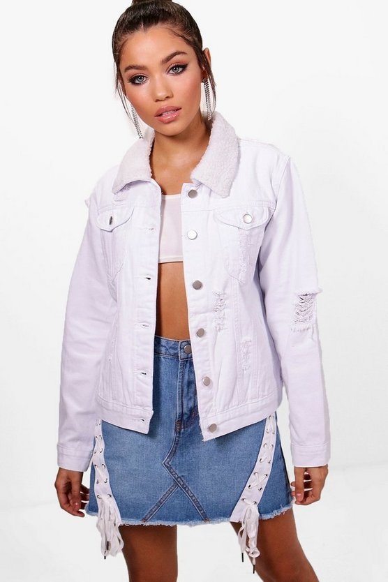 Nadia Borg Collar Slim Fit Denim Jacket