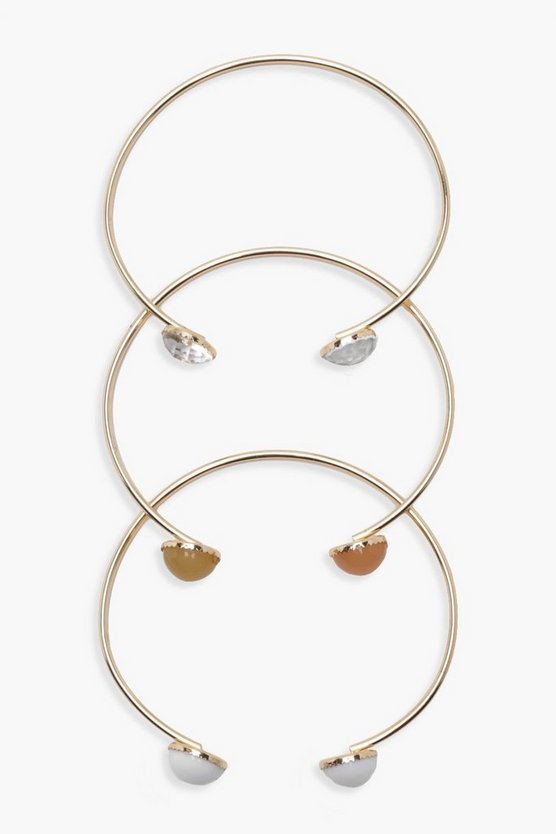 Stone Detail Bangle Set of 3