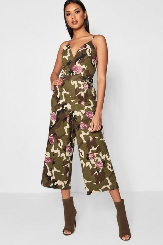 Camo and Floral Jumpsuit