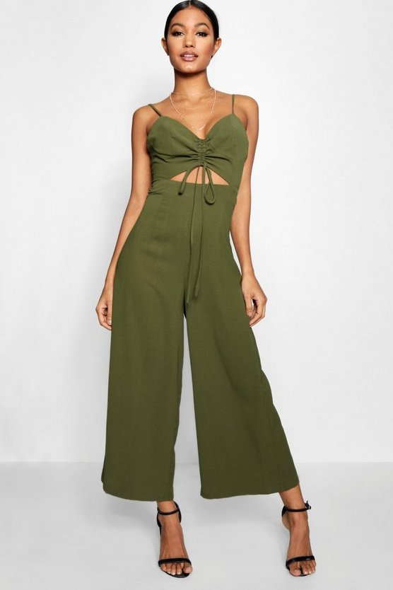 Ava Ruched Front Strappy Wide Leg Jumpsuit