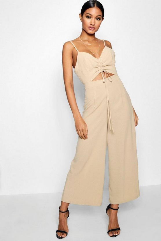 Ruched Front Strappy Wide Leg Jumpsuit
