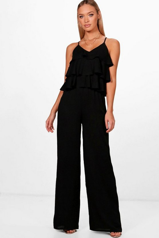 Ruffle Strappy Wide Leg Jumpsuit