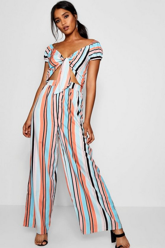 Striped Split Leg Culotte Jumpsuit
