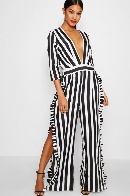 Striped Ruffle Leg Jumpsuit