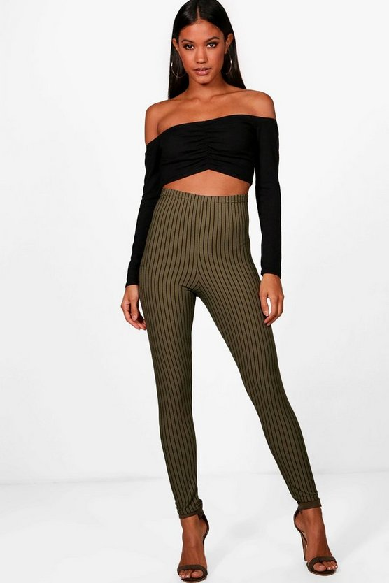 Rachel Ribbed Stripe Highwaist Leggings
