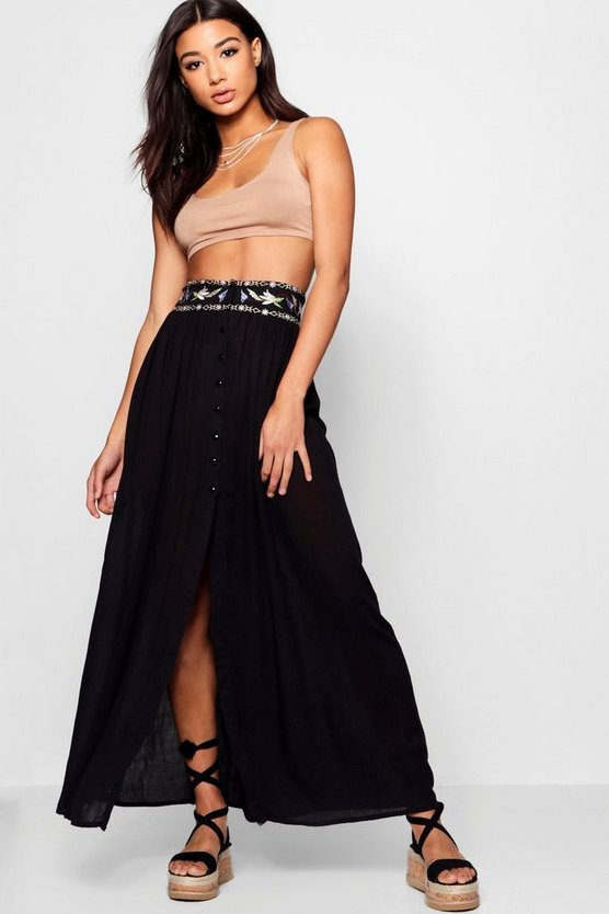 Embroidered High Waist Maxi Skirt