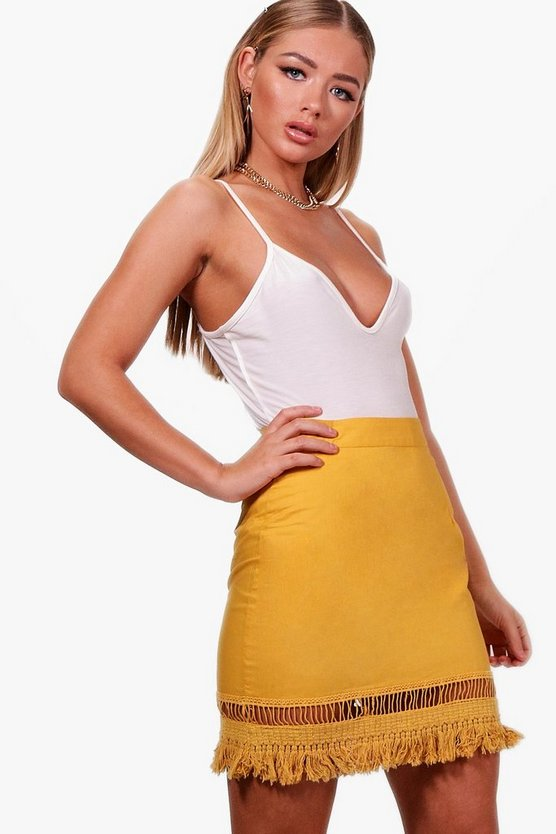 Aria Tassel Trim Woven Skater Mini Skirt